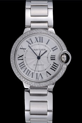 Swiss Cartier Ballon Bleu Silver Dial Diamond Case Stainless Steel Bracelet  Cartier Replica