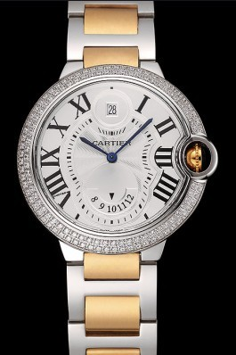 Swiss Cartier Ballon Bleu Two Timezone White Dial Diamond Case Gold And Silver Bracelet 1453876 Cartier Replica
