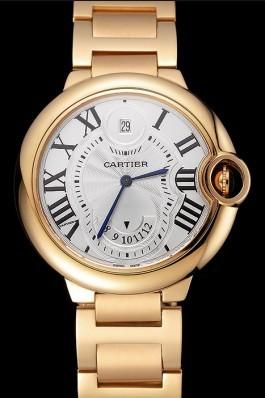 Swiss Cartier Ballon Bleu Two Timezone White Dial Gold Case Gold Bracelet 1453873 Cartier Replica