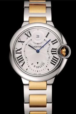 Swiss Cartier Ballon Bleu Two Timezone White Dial Silver Case Gold And Silver Bracelet 1453877 Cartier Replica