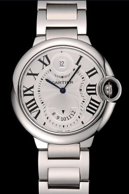 Swiss Cartier Ballon Bleu Two Timezone White Dial Stainless Steel Bracelet 1453879 Cartier Replica