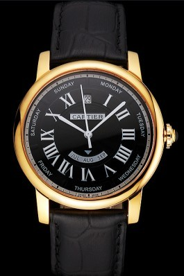 Swiss Cartier Rotonde Annual Calendar Black Dial Gold Case Black Leather Strap Cartier Replica