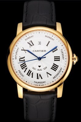 Swiss Cartier Rotonde Annual Calendar White Dial Gold Case Black Leather Strap Cartier Replica