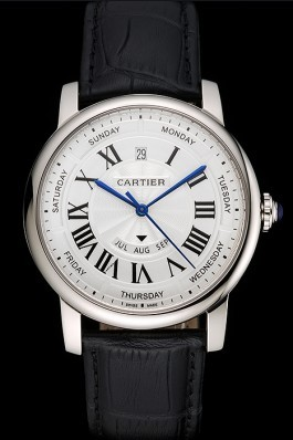 Swiss Cartier Rotonde Annual Calendar White Dial Stainless Steel Case Black Leather Strap Cartier Replica