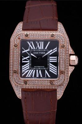 Swiss Cartier Santos Black Dial Diamonds Case Brown Leather Bracelet 622550 Cartier Replica