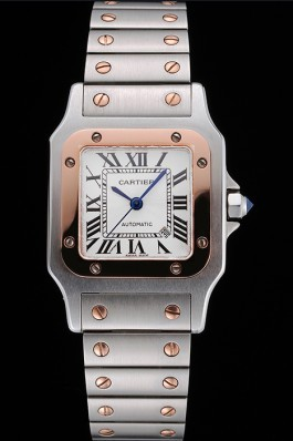 Swiss Cartier Santos De Cartier Galbee Rose Gold and Steel Case Steel Bracelet Small 622645 Cartier Replica