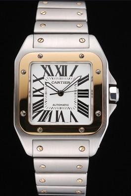 Swiss Cartier Santos De Cartier Galbee Yellow Gold and Steel Case Steel Bracelet 622643 Cartier Replica