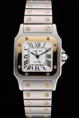 Swiss Cartier Santos De Cartier Galbeee Yellow Gold and Steel Case Steel Bracelet Small 622644 Cartier Replica