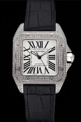 Swiss Cartier Santos Dumont Diamond Case White Dial Roman Numerals Black Leather Bracelet 622652 Cartier Replica