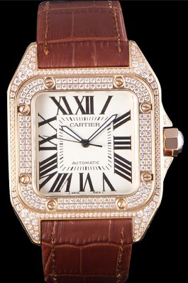 Swiss Cartier Santos Rose Gold Bezel with Diamonds and Brown Leather Strap sct46 621530 Cartier Replica