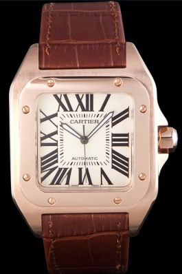 Swiss Cartier Santos Rose Gold with Brown Leather Strap 621522 Cartier Replica