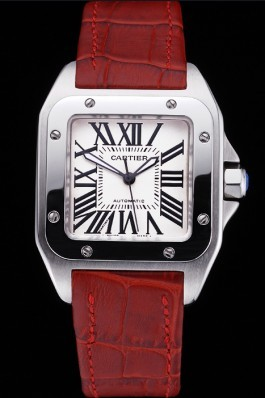 Swiss Cartier Santos White Dial Stainless Steel Case Red Leather Bracelet 622551 Cartier Replica