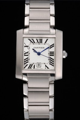 Swiss Cartier Tank Francaise Steel Case White Dial Roman Numerals Stainless Steel Bracelet 622649 Cartier Replica