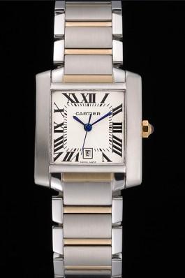 Swiss Cartier Tank Francaise Steel Case White Dial Roman Numerals Two Tone Bracelet 622648 Cartier Replica