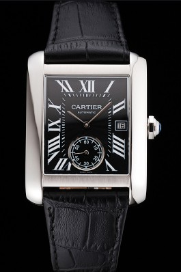 Swiss Cartier Tank MC Black Dial Stainless Steel Case Black Leather Strap Cartier Replica