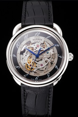 Swiss Hermes Arceau Skeleton Black Dial Blue Hands Stainless Steel Case Black Leather Strap Hermes Replica Watches