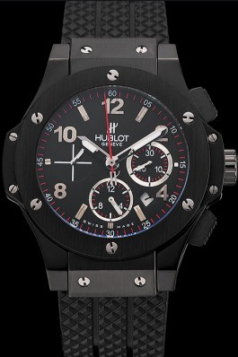 Swiss Hublot Big Bang Black Dial Black Case Black Rubber Bracelet 1453901 Replica Watch Hublot