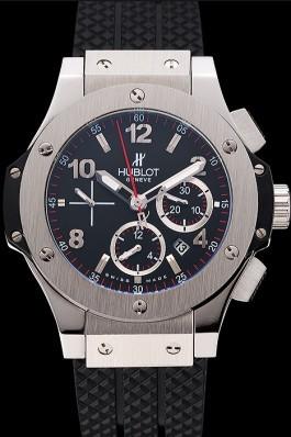 Swiss Hublot Big Bang Black Dial Silver Case Black Rubber Bracelet 1453900 Replica Watch Hublot