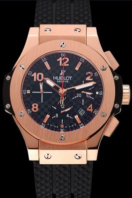 Swiss Hublot Big Bang Carbon Effect Dial Rose Gold Case Black Rubber Bracelet 1453897 Replica Watch Hublot