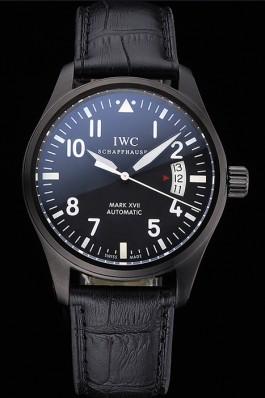 Swiss IWC Mark XVII Black Steel Case Black Dial Black Leather Bracelet 622667 Iwc Replica