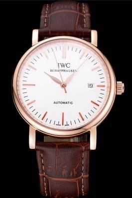 Swiss IWC Portofino Gold Case White Dial Brown Leather Bracelet 622668 Iwc Replica