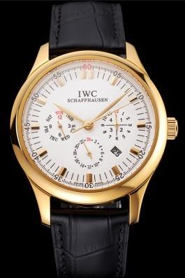 Swiss IWC Portugieser Perpetual Calendar White Dial Gold Case Black Leather Strap Iwc Replica