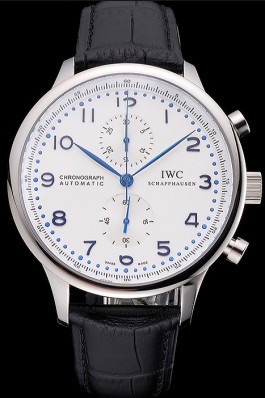 Swiss IWC Portugieser Power Reserve White Dial Stainless Steel Case Black Leather Strap Iwc Replica