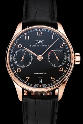 Swiss IWC Portuguese Black Dial Gold Case Black Leather Bracelet 1453918 Iwc Replica