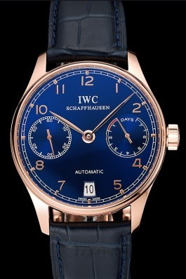 Swiss IWC Portuguese Blue Dial Gold Case Blue Leather Bracelet 1453919 Iwc Replica