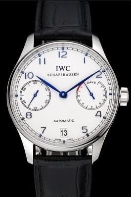 Swiss IWC Portuguese White Dial Blue Numerals Silver Case Black Leather Bracelet 1453913 Iwc Replica