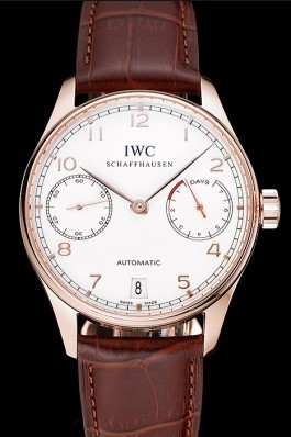 Swiss IWC Portuguese White Dial Gold Numerals Gold Case Brown Leather Bracelet 1453916 Iwc Replica
