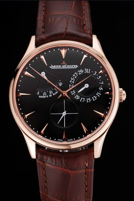 Swiss Jaeger LeCoultre Master Ultra Thin Reserve De Marche Black Dial Rose Gold Case Brown Leather Strap Le Coultre Watch