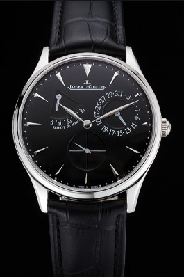 Swiss Jaeger LeCoultre Master Ultra Thin Reserve De Marche Black Dial Stainless Steel Case Black Leather Strap  Le Coultre Watch