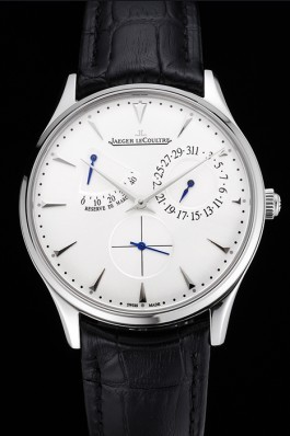 Swiss Jaeger LeCoultre Master Ultra Thin Reserve De Marche White Dial Stainless Steel Case Black Leather Strap Le Coultre Watch
