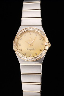 Swiss Lady Omega Constellation Crystal Encrusted Bezel Golden Dial 80293 Best Omega Replica
