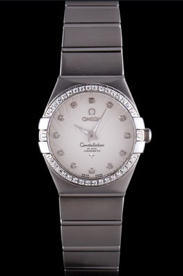 Swiss Lady Omega Constellation Crystal Encrusted Bezel Silver Radial Dial 80291 Best Omega Replica
