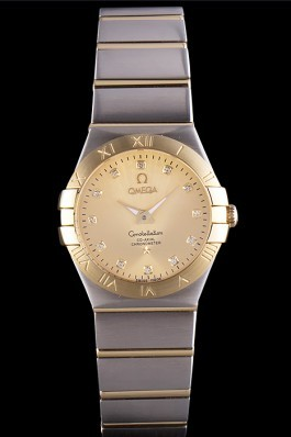 Swiss Lady Omega Constellation Stainless Steel Bracelet Golden Dial 80292 Best Omega Replica