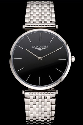 Swiss Longines Grande Classique Black Dial Stainless Steel Case And Bracelet Longines Replica Watch