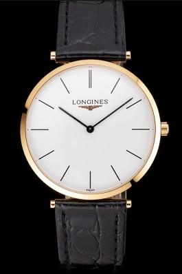 Swiss Longines Grande Classique White Dial Gold Case Black Leather Strap Longines Replica Watch