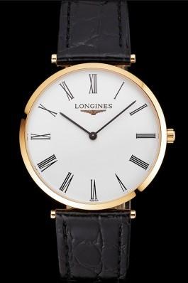 Swiss Longines Grande Classique White Dial Roman Numerals Gold Case Black Leather Strap Longines Replica Watch