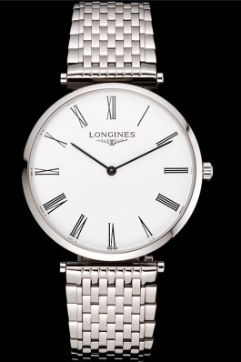 Swiss Longines Grande Classique White Dial Roman Numerals Stainless Steel Case And Bracelet Longines Replica Watch