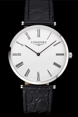 Swiss Longines Grande Classique White Dial Roman Numerals Stainless Steel Case Black Leather Strap Longines Replica Watch