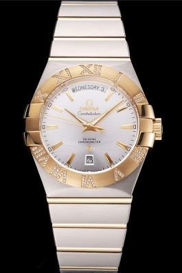 Swiss Omega Constellation White Dial Stainless Steel Case Gold Bezel Two Tone Bracelet Best Omega Replica