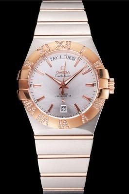 Swiss Omega Constellation White Dial Stainless Steel Case Rose Gold Bezel Two Tone Bracelet Best Omega Replica