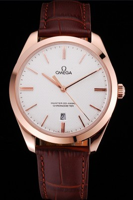 Swiss Omega DeVille Tresor White Dial Gold Case Brown Leather Strap 622846 Omega Replica Watch