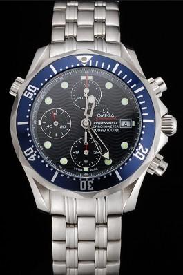 Swiss Omega Seamaster Chronograph 300m Blue Dial Blue Bezel Stainless Steel Case And Bracelet Omega Replica Seamaster