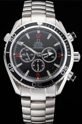Swiss Omega Seamaster Chronograph Black Dial Black Bezel Stainless Steel Case And Bracelet Omega Replica Seamaster