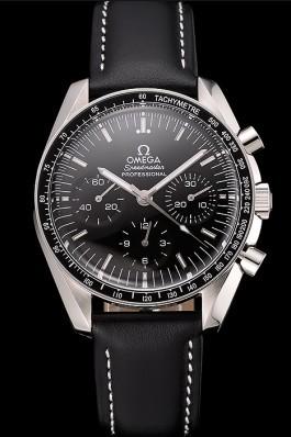 Swiss Omega Speedmaster Professional Black Dial Black Leather Bracelet 1453936 Omega Speedmaster Replica