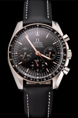 Swiss Omega Speedmaster Professional Black Dial Gold Accents Black Leather Bracelet 1453937 Omega Speedmaster Replica