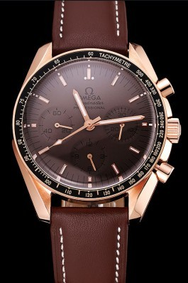 Swiss Omega Speedmaster Professional Brown Dial Gold Case Brown Leather Bracelet 1453939 Omega Speedmaster Replica